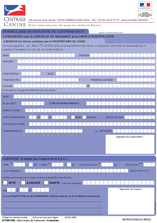centrale canine formulaire de demande de confirmation